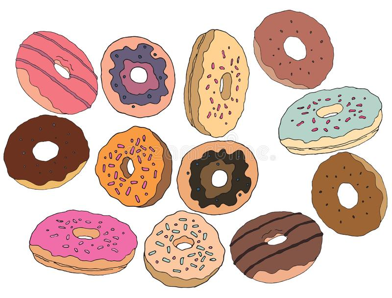 Kaf? f?r konst f?r s?ta kr?m- f?r socker f?r tecknad filmhandattraktion donuts f?r klotter fastst?llt vektor illustrationer
