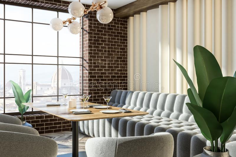 Kafé för möblemang för grå färger för tegelstenvägg, stadssikt vektor illustrationer