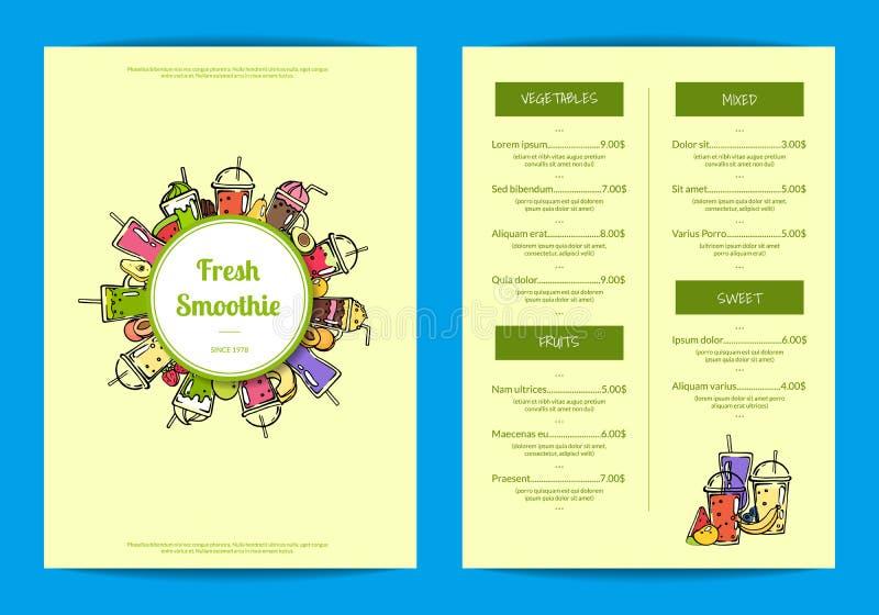 Kafé för vektorklottersmoothie eller illustration för restaurangmenymall royaltyfri illustrationer