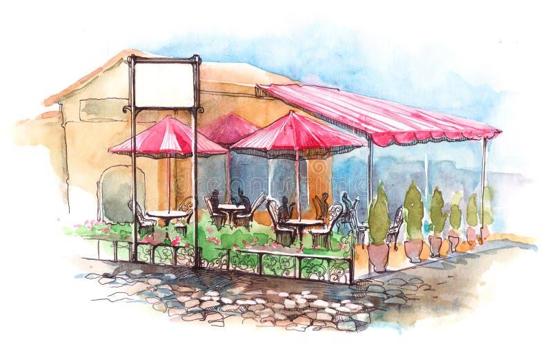 Kafé på terrass royaltyfri illustrationer