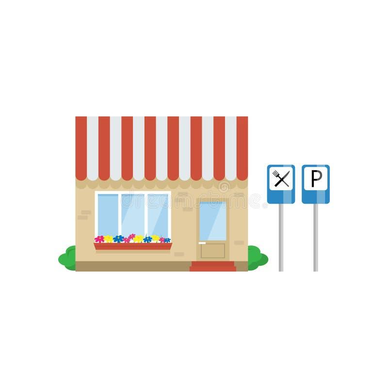 Kafébyggnad på huvudvägen, illustration för vektor för vägrenrestaurang vektor illustrationer