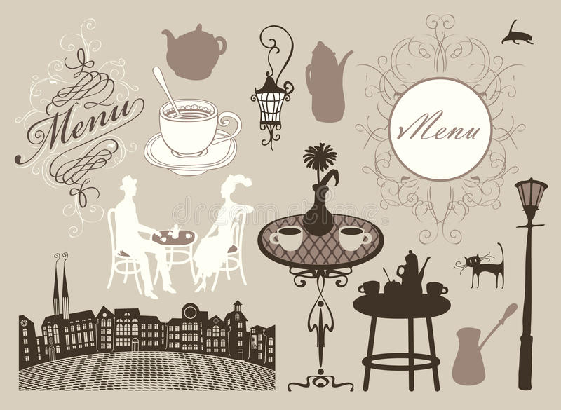 Kaféer och restauranger stock illustrationer
