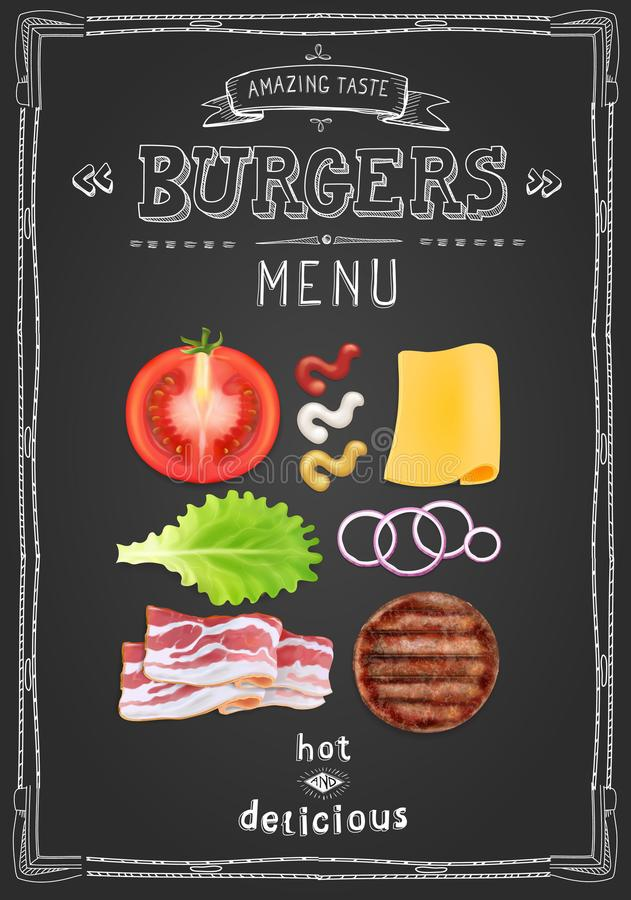 Kaféhamburgare meny, design för matrestaurangmall på en svart tavla vektor illustrationer