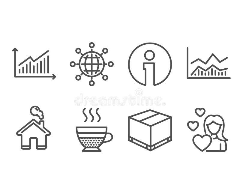 Kafékräm, graf och internationella jordklotsymboler Handla infochart, leveransasken och förälskelsetecken royaltyfri illustrationer