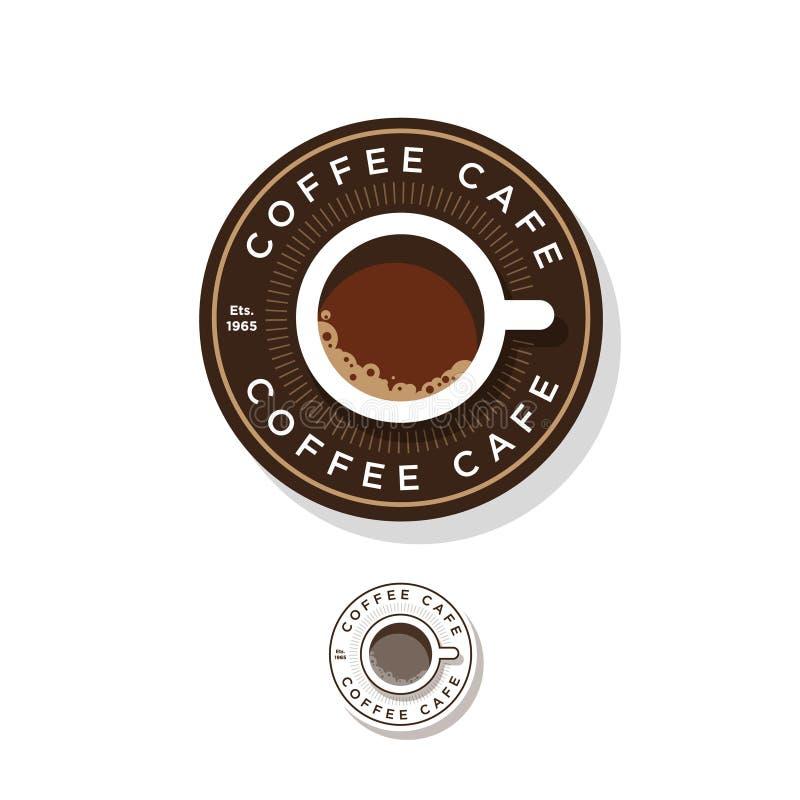 Kafélogo Roundel kaffelogo En kopp kaffe och bokstäver i cirkeln vektor illustrationer