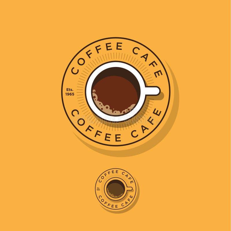 Kafélogo Roundel kaffelogo En kopp kaffe och bokstäver i cirkeln royaltyfri illustrationer