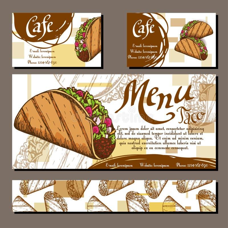 Kafémeny med hand dragen design Mall för snabbmatrestaurangmeny med taco Uppsättning av kort för företags identitet Vektor Illust stock illustrationer