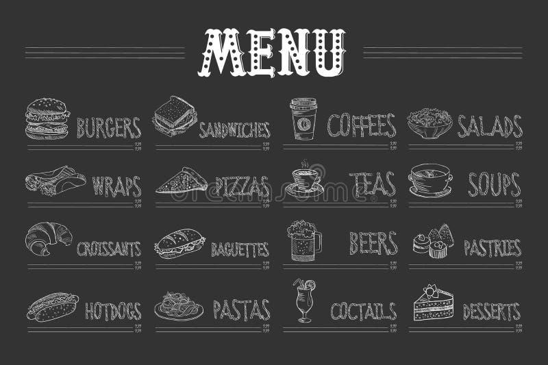 Kafémeny med mat och drinkar på den svart tavlan Skissa av hamburgaren, sjalen, gifflet, varmkorven, smörgåsen, pizza, pasta, kaf stock illustrationer