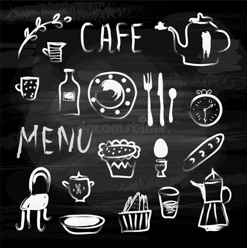 Kafémeny- och matsymboler på svart tavla Knapphändig design, vektorillustration stock illustrationer