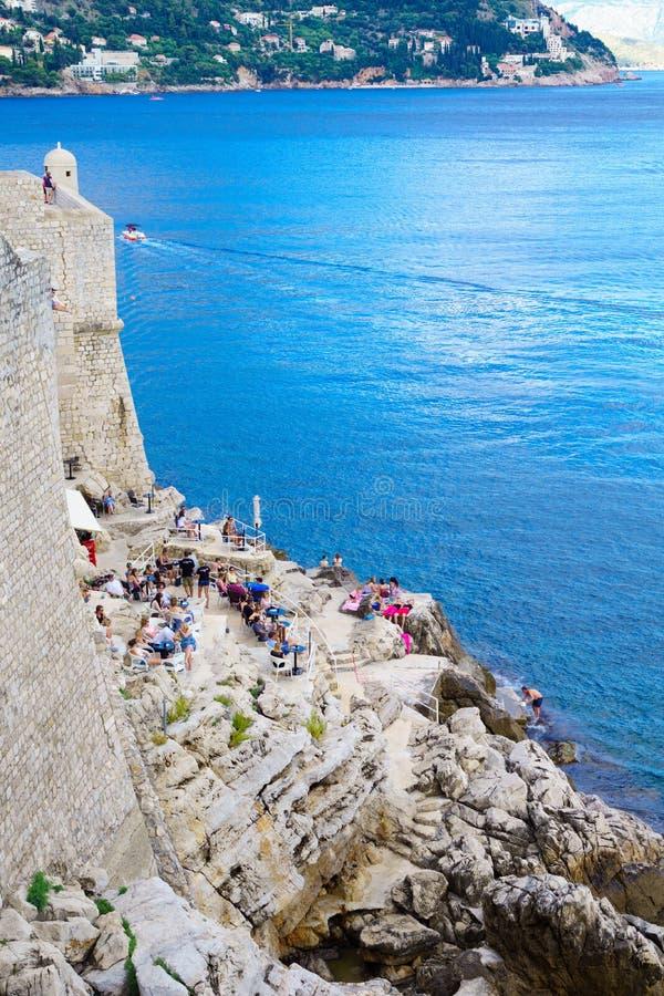 Kaféplats, Dubrovnik royaltyfria bilder