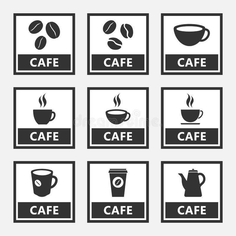 Kafésymboler och tecken med kaffebönor och koppar stock illustrationer