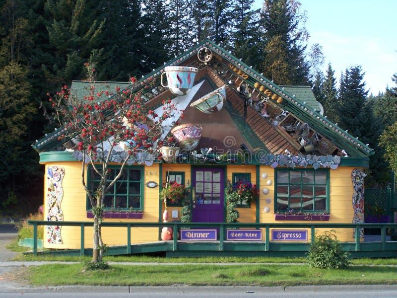 Kafét kuper restaurangen i Homer Alaska royaltyfri foto