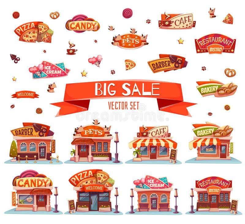 Kafét restaurangen, glass shoppar, pizzeria och bagerit vektor för set för tecknad filmhjärtor polar illustration vektor illustrationer