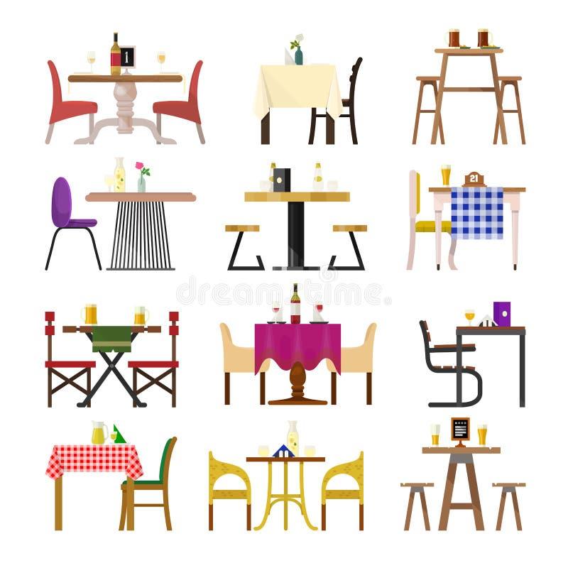 Kafétabeller i restauranginställningsvektorn som äter middag möblemang, bordlägger och presiderar för romantiskt lunchmatställeda royaltyfri illustrationer