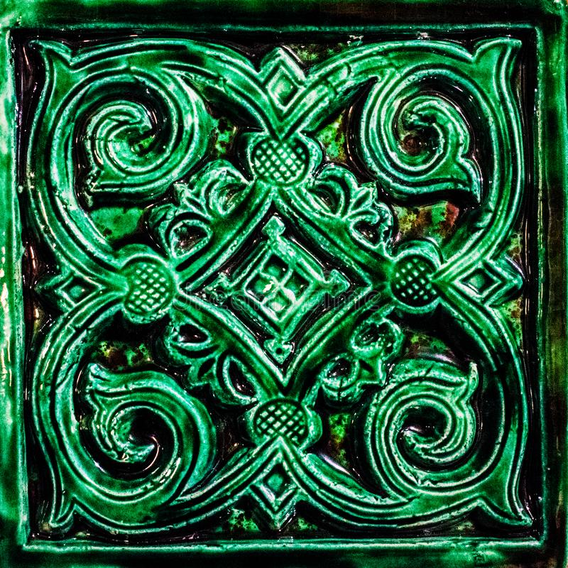 Kafelkowa powierzchnia piec zielona płytka na powierzchni talerz T?o struktura obrazy stock