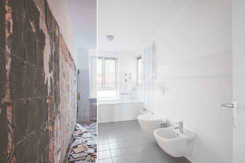 Kafelkowy łazienki odświeżanie przed i po przywróceniem - obraz royalty free