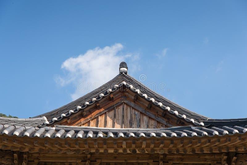 Kafelkowy dach Koreańska tradycyjna architektura fotografia stock
