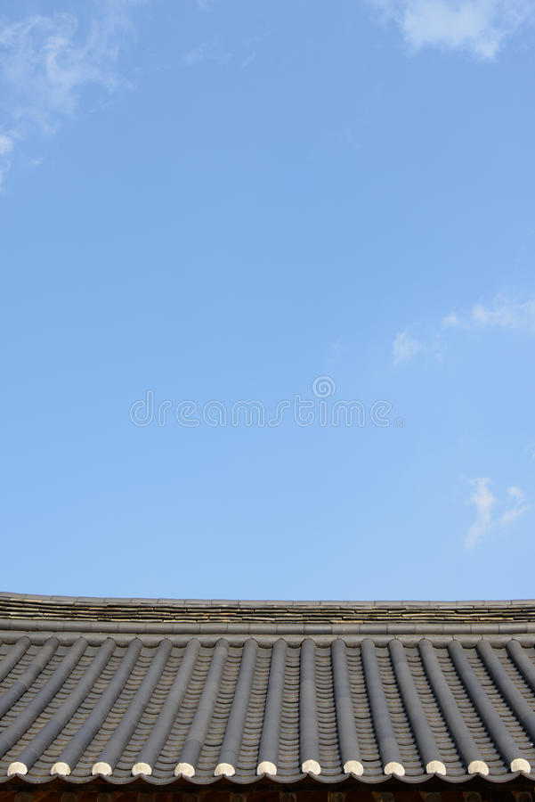 Kafelkowy dach Koreańska tradycyjna architektura zdjęcie stock