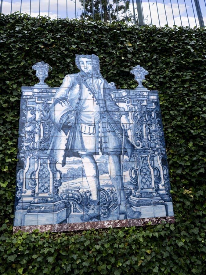 Kafelkowy panel w Tropikalnym ogródzie przy Monte nad Funchal madera fotografia royalty free
