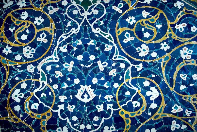 Kafelkowy tło, orientalni ornamenty od Isfahan meczetu, Iran ilustracja wektor