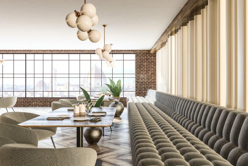 Kafeteria för soffor och för fåtöljer för grå färger för tegelstenvägg vektor illustrationer