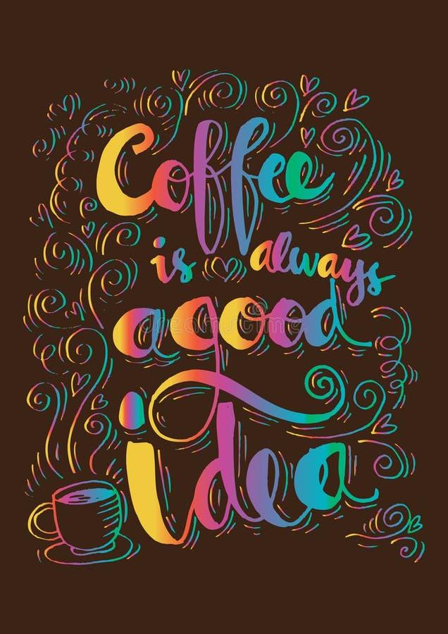 Kaffe är alltid en bra idé stock illustrationer