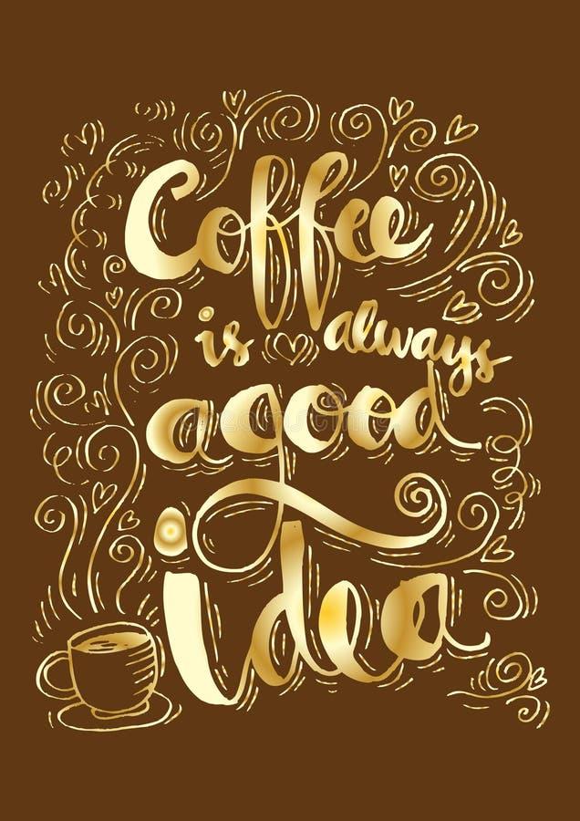 Kaffe är alltid en bra idé royaltyfri illustrationer