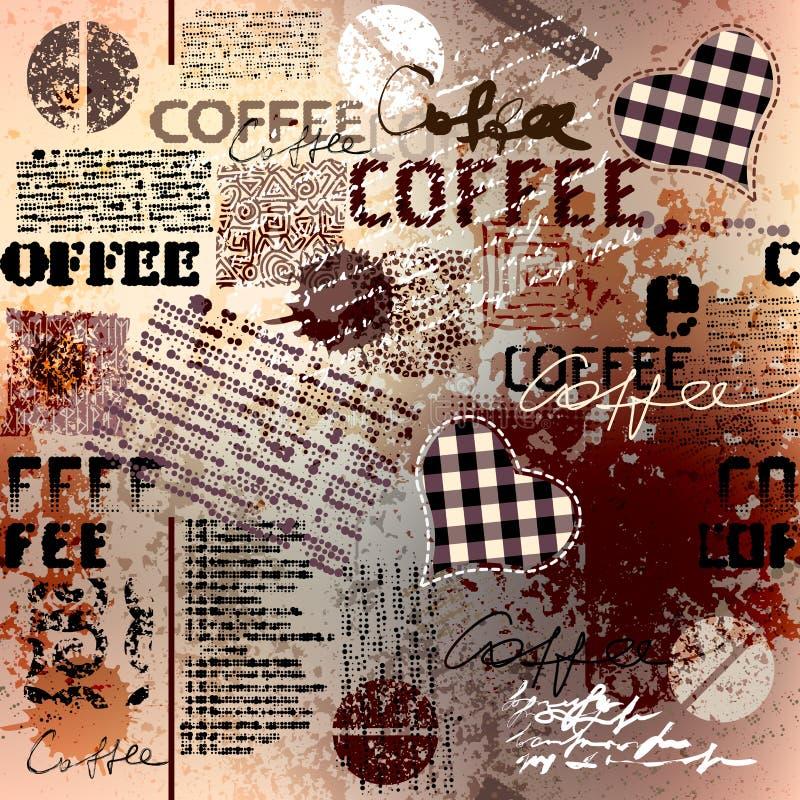Kaffe Abstrakta kaffebönor på brun bakgrund stock illustrationer
