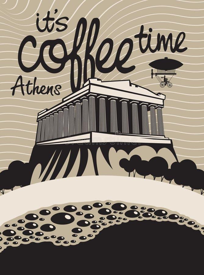 Kaffe athens vektor illustrationer