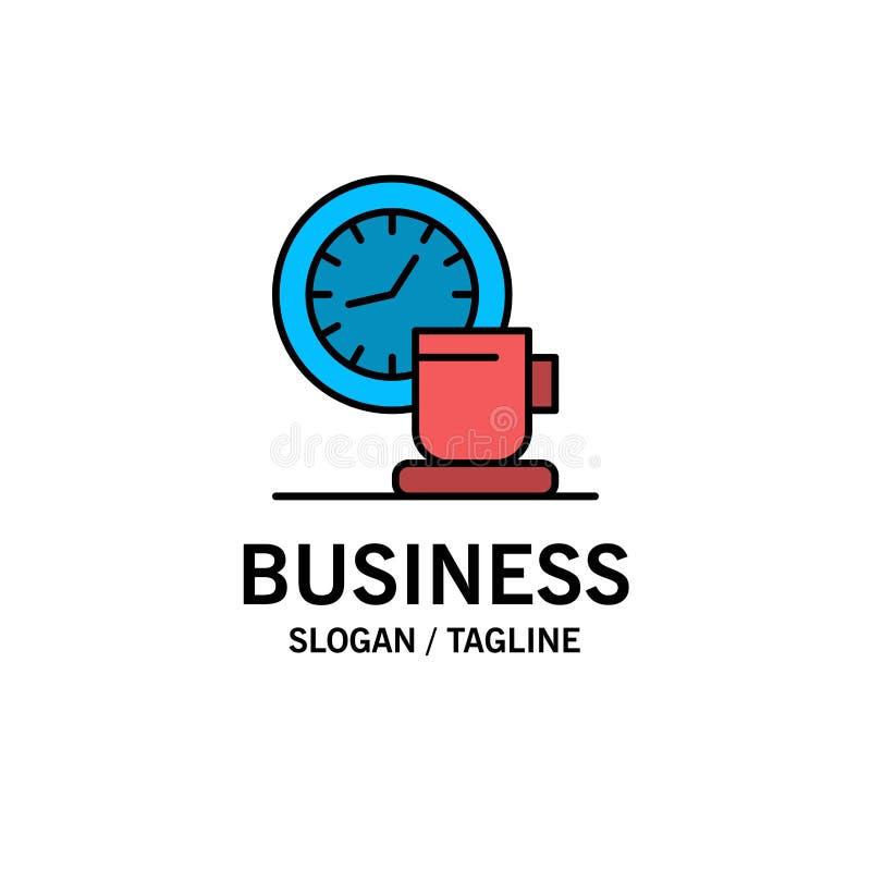 Kaffe avbrott, kopp, Tid, händelseaffär Logo Template plan f?rg stock illustrationer