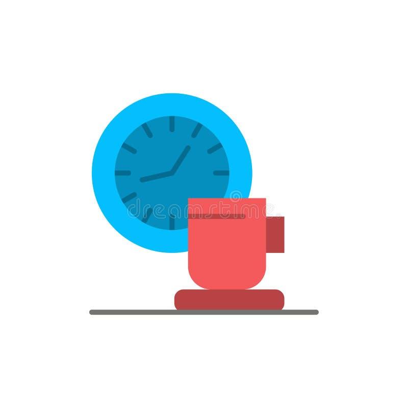 Kaffe avbrott, kopp, Tid, plan färgsymbol för händelse Mall för vektorsymbolsbaner stock illustrationer