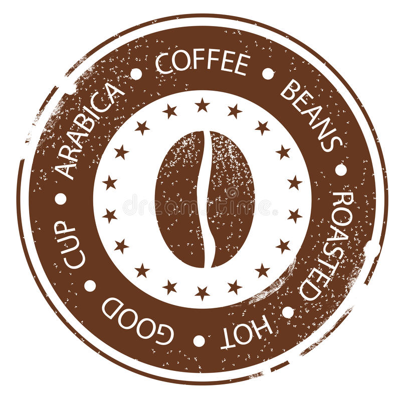 Kaffe Bean Design Tappningmenystämpel Varmt grillat, goda, kopp bedrövad rund etikett royaltyfri illustrationer