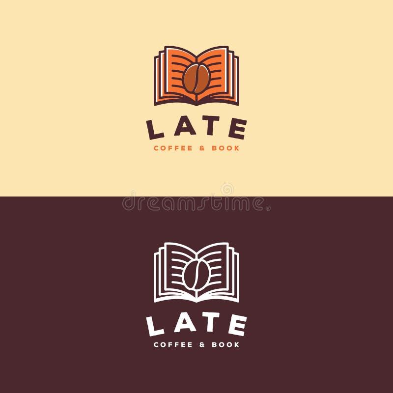 Kaffe- & boklogo vektor illustrationer
