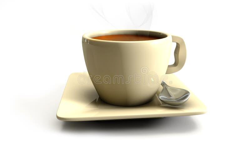 kaffe 3d på tabellen med planshet vektor illustrationer