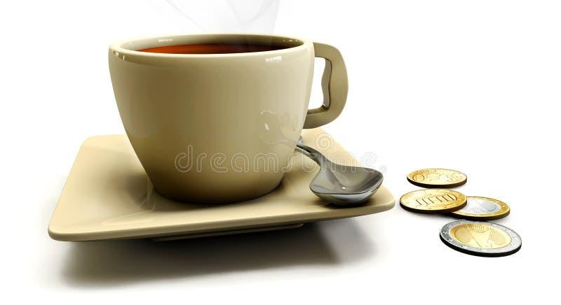 kaffe 3d på tabellen på en vit bakgrund royaltyfri illustrationer