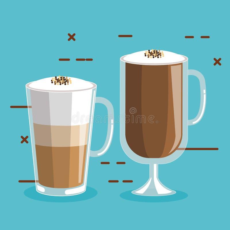 Kaffe dricker i exponeringsglas med skum och kanel stock illustrationer