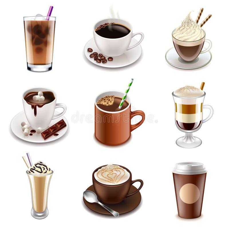 Kaffe dricker symbolsvektoruppsättningen stock illustrationer