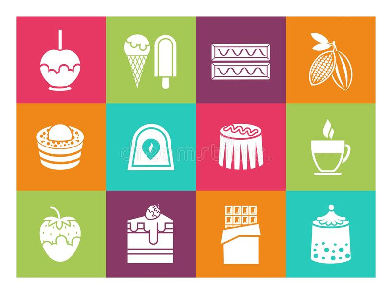 Kaffe, efterrätter och chokladsymboler vektor illustrationer