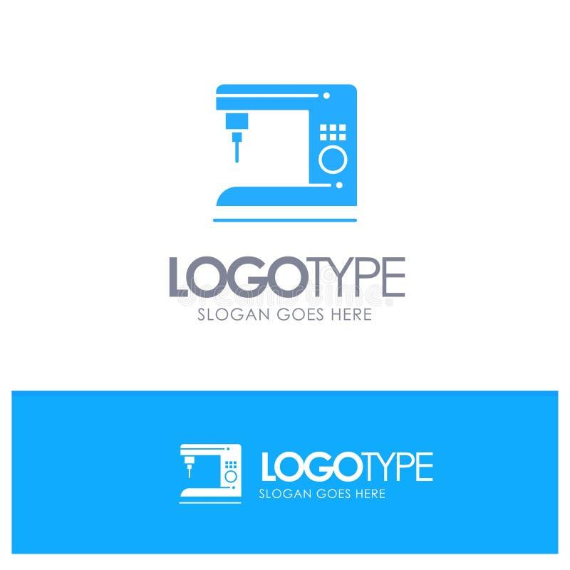 Kaffe elektriskt som är hem-, blå logovektor för maskin royaltyfri illustrationer