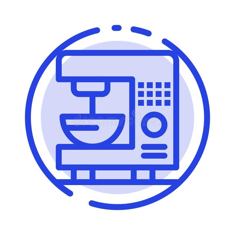Kaffe elektriskt som är hem-, blå prickig linje linje symbol för maskin royaltyfri illustrationer
