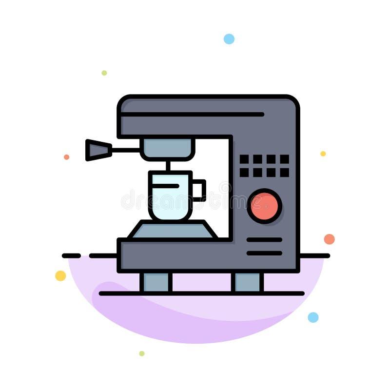 Kaffe elektriskt som är hem-, för färgsymbol för maskin abstrakt plan mall vektor illustrationer