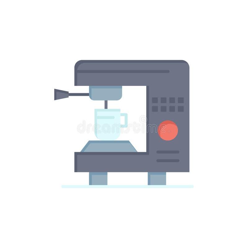 Kaffe elektriskt som är hem-, plan färgsymbol för maskin Mall för vektorsymbolsbaner vektor illustrationer