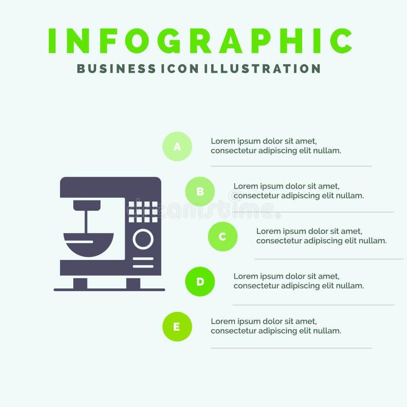 Kaffe elkraft, hem, mall för maskinInfographics presentation Presentation för 5 moment vektor illustrationer