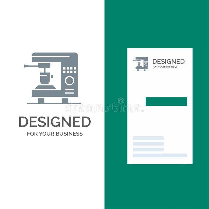Kaffe, elkraft, hem, maskin Grey Logo Design och mall för affärskort vektor illustrationer
