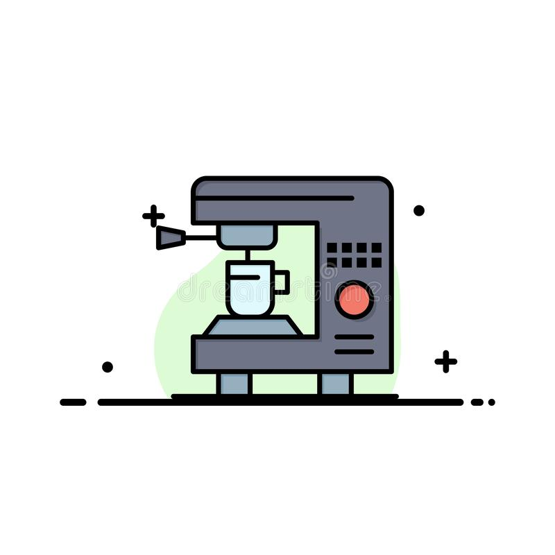 Kaffe elkraften, hemmet, plan linje för maskinaffär fyllde mallen för symbolsvektorbanret royaltyfri illustrationer