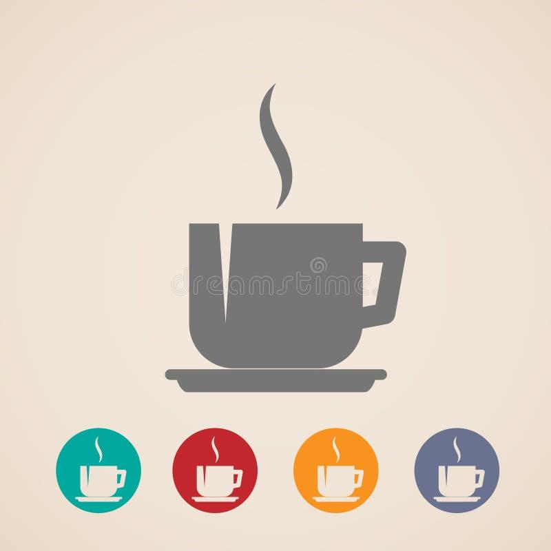 Kaffe- eller tekoppsymboler royaltyfri illustrationer