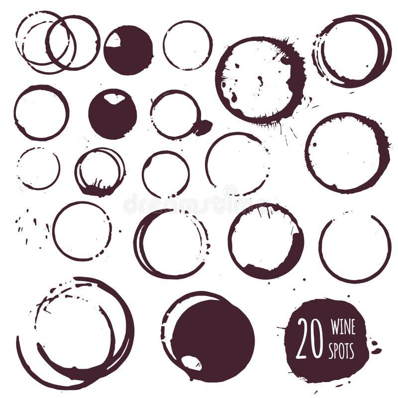 Kaffe- eller vinfläck, runda fläckar vektor illustrationer