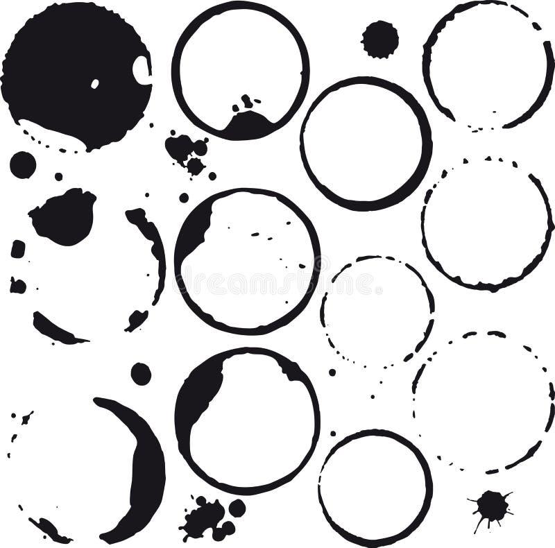 Kaffe- eller winefläckar Färgpulver spots och plaskar vektorn royaltyfri illustrationer