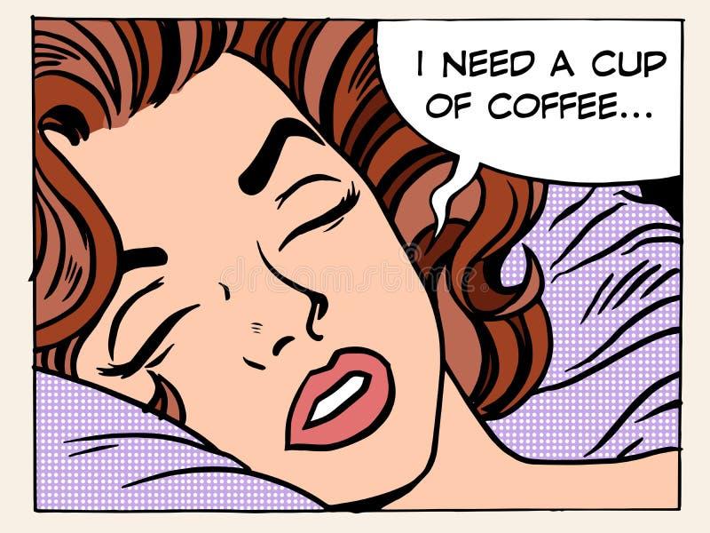 Kaffe för kopp för kvinnadrömmorgon stock illustrationer