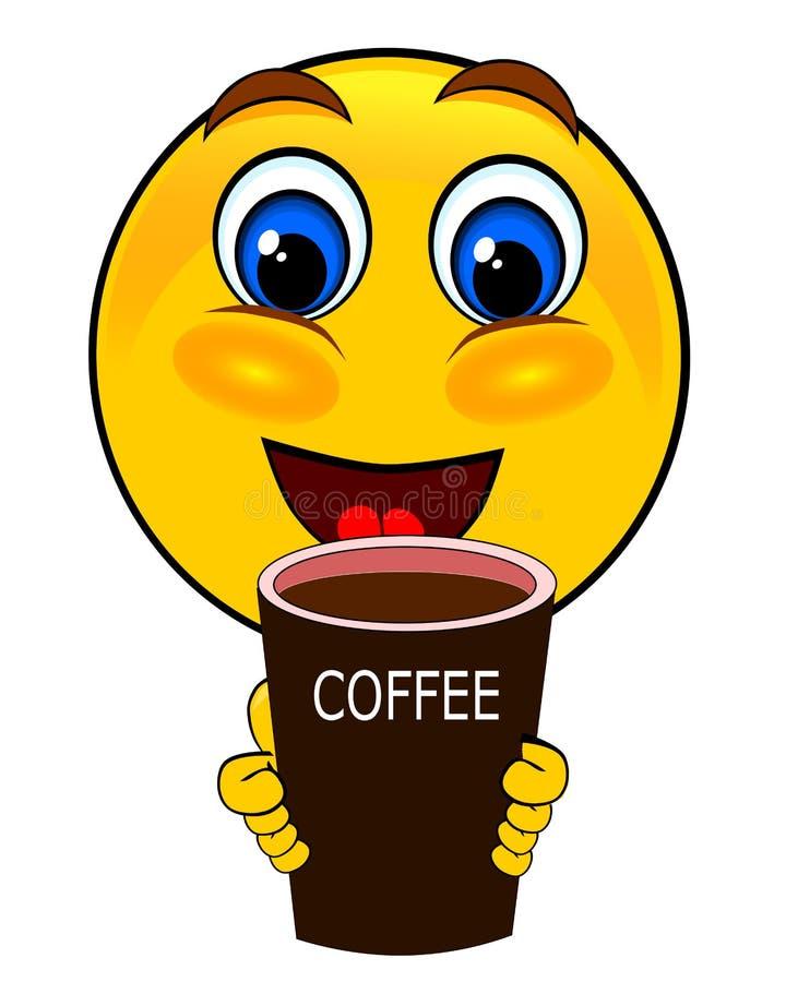 Kaffe för leendeemoticonsdrink royaltyfri illustrationer